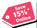 Save 15% Online